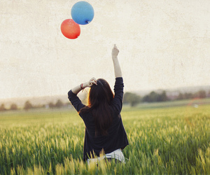 girl, balloons, and photography image