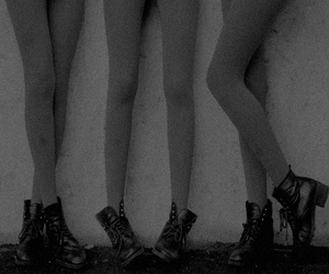 legs, boots, and black and white image