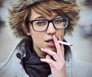 glasses, smoke, and cigarette image