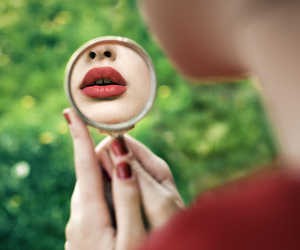 lips, mirror, and red image