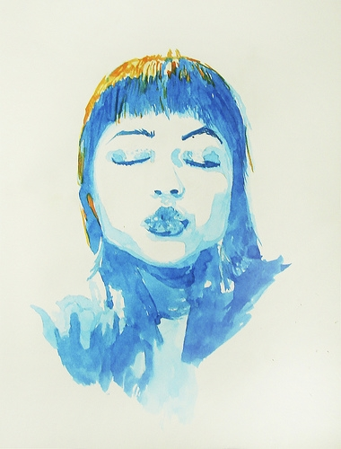 art, blue, and closed eyes image