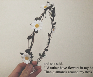 quote, flowers, and diamonds image