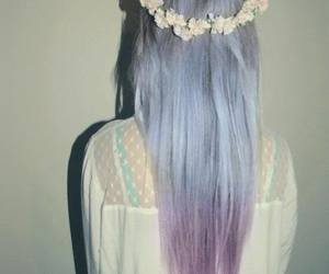 hair, flowers, and purple image