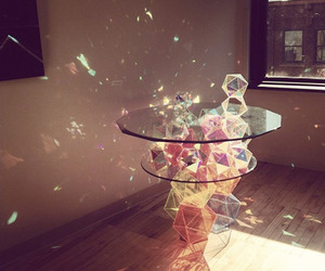 table, light, and glass image