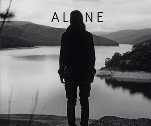 alone, black and white, and photography image