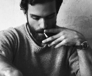 b&w, black and white, and beard image