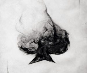 card, smoke, and black and white image