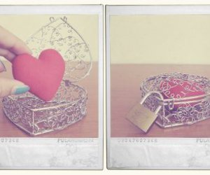 heart, polaroid, and lock image
