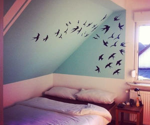 bed, bedroom, and birds image