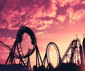 fun, pink, and Roller Coaster image