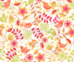 background, floral, and birds image