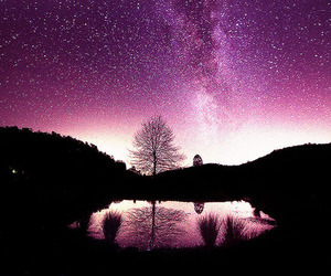 galaxy, stars, and landscape image