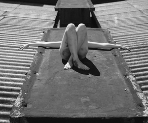artistic nude, black and white, and city image