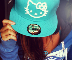 hello kitty, cap, and blue image