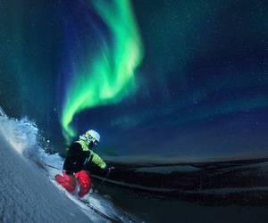 mountain, Skiing, and northern lights image