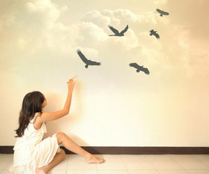 bird, girl, and painting image