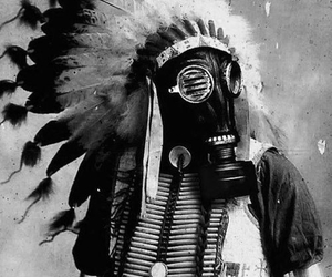 gas mask and indian image