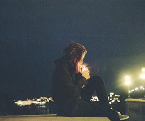 girl, night, and smoke image