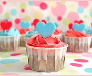 cupcakes, yum, and hearts image