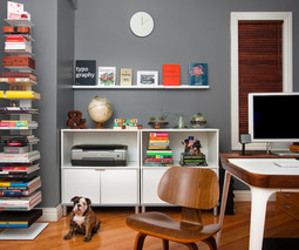 apartment, books, and home office image