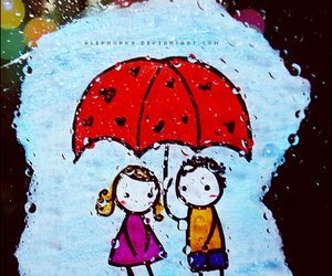 adorable, raining, and cute image