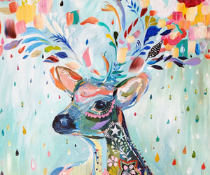 art, deer, and colorful image