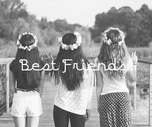 girl, best friends, and flowers image