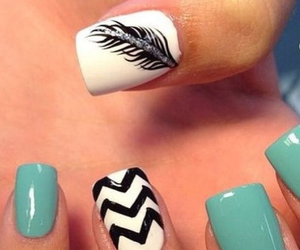 chevron, feather, and nail art image