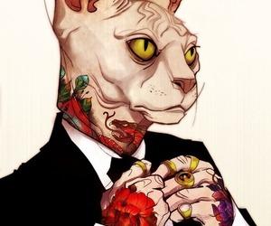 cat, tattoo, and art image
