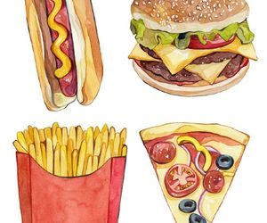 food, pizza, and hot dog image