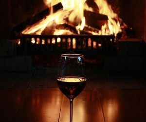 wine, fire, and fireplace image