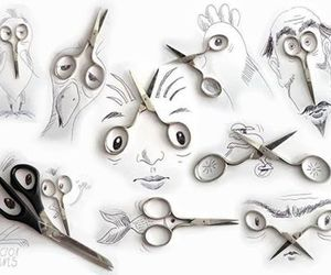 art, scissors, and drawing image