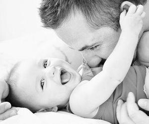 baby, dad, and laughing image