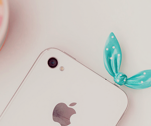 apple, bow, and iphone image