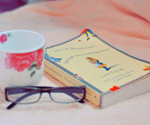 book, cup, and glasses image