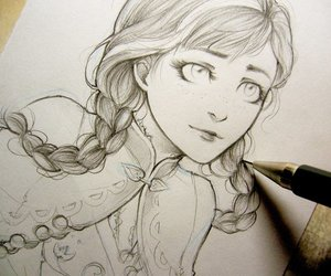 drawing, frozen, and anna image