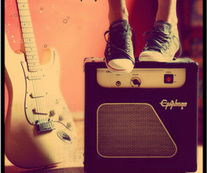 guitar, music, and shoes image