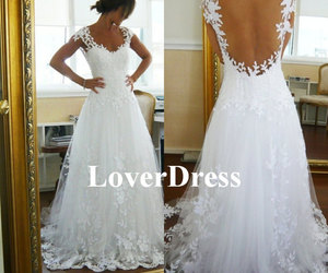 lace wedding dress, white wedding dress, and lace wedding gown image