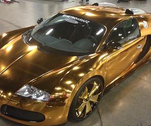 car, gold, and bugatti image