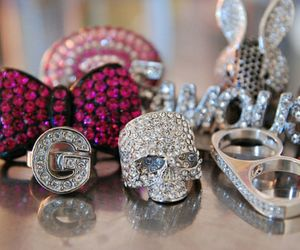 rings, pink, and skull image