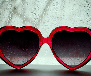 red, love, and glasses image