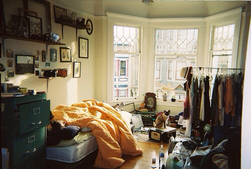 apartment, bedroom, and clothes image