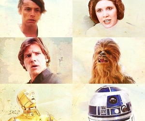 han solo, r2d2, and star wars image