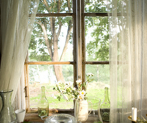 curtains, farm house, and window image