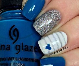 nails, blue, and heart image
