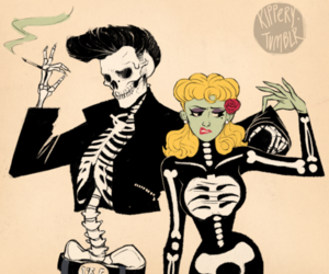 skull, skeleton, and couple image