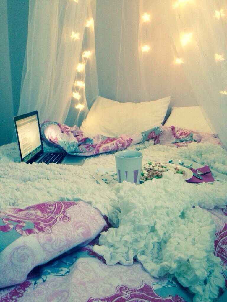bed, stars, and cosy image