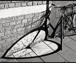 bike, black and white, and heart image