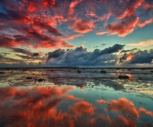 sky, water, and landscape image