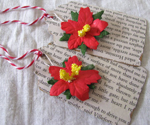 christmas, gift tags, and red flowers image